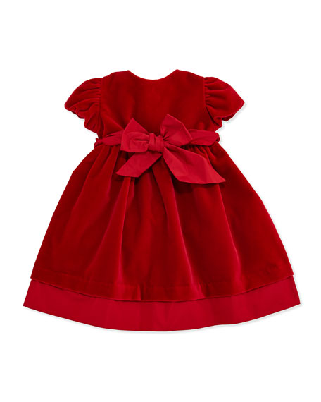 Velvet Party Dress with Sash, Red, 3-24 Months
