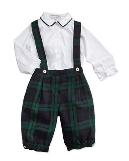 Button-Down Shirt & Plaid Trousers with Suspenders, 3-24 Months