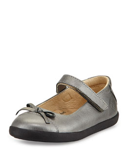 Leather Cap-Toe Ballet Flat, Youth
