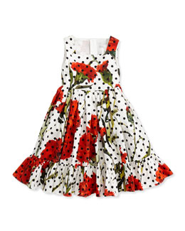 Floral & Polka Dot Sleeveless Dress, White/Multicolor, Sizes 8-12