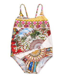 Fan-Print One-Piece Swimsuit, Multicolor, Sizes 8-12