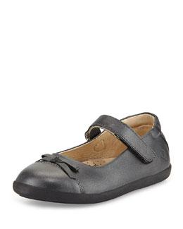 Leather Cap-Toe Ballet Flat, Metallic Black, Youth