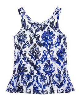 Fleur Mosaic-Print Ruffle Coverup, Blue, Sizes 2-7