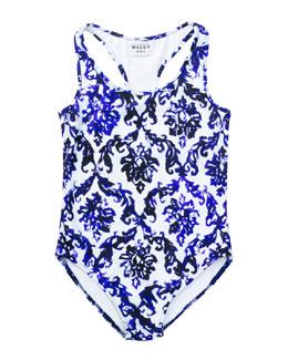 Fleur Mosaic-Print Racerback Swimsuit, Blue, Sizes 8-14