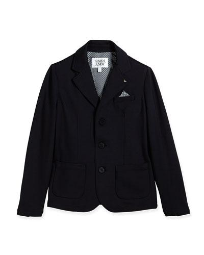 Stretch-Knit Blazer w/ Pocket Square, Indigo, Size 2-8
