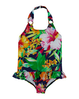 Floral-Print Halter Swimsuit, Navy/Multicolor, Size 2-6X
