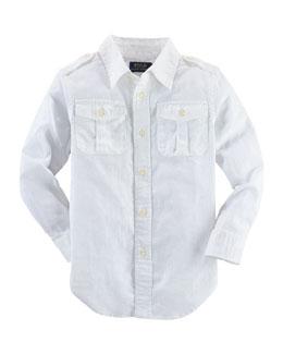 Long-Sleeve Basket-Weave Military Shirt, White, Size 2-7