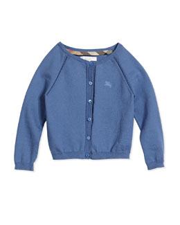 Raglan Cotton Cardigan, Lupin, Size 4Y-14Y