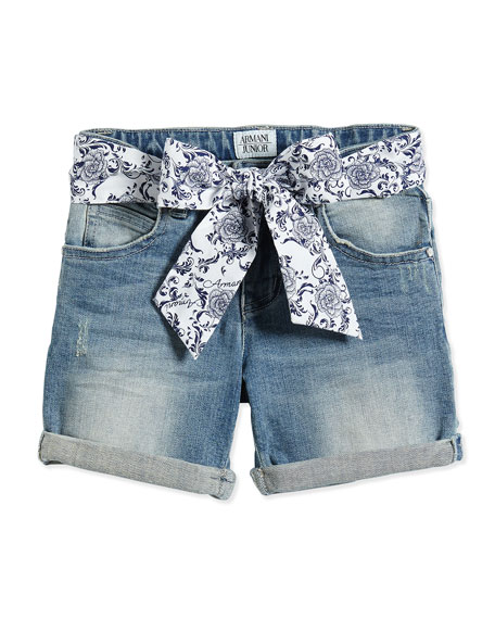 Denim Shorts w/ Floral-Print Belt, Size 2-8