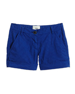 Logo-Print Poplin Shorts, Cobalt, Size 2-10