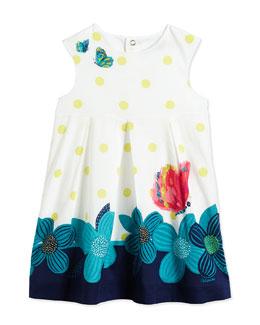 Polka Dot-Print Cotton Dress, White/Multicolor, Size 3-6