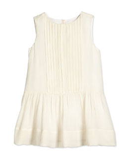 Sleeveless Silk Shift Dress, Parchment, Size 4Y-14Y