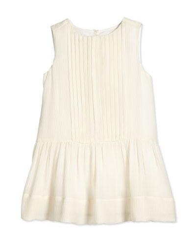 Filma Sleeveless Silk Shift Dress, Parchment, Size 4Y-14Y