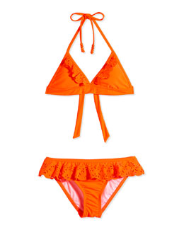 Ruffle-Trim Two-Piece Swimsuit, Orange Crush, Size 6-16