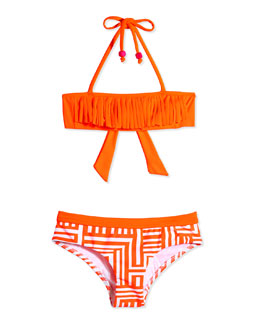 Fringe-Detail Two-Piece Swimsuit, Orange Crush, Size 6-16
