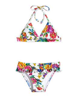 Bella Boho Floral-Print Two-Piece Swimsuit, White/Multicolor, Size 6-16