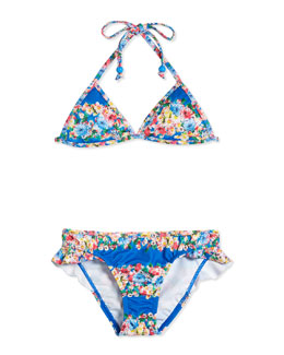 Reversible Floral-Print Two-Piece Swimsuit, Multicolor, Size 6-14