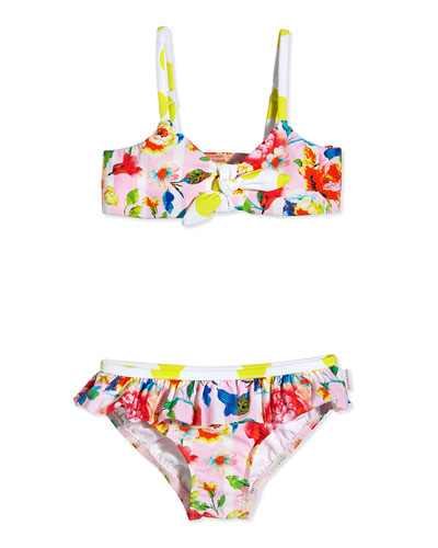 Floral-Print Two-Piece Swimsuit, Pink/Multicolor, Girls