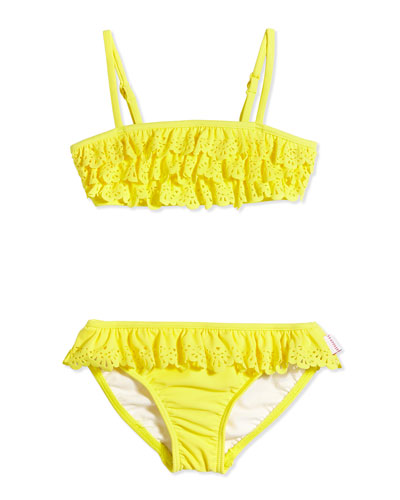 Laser-Cut Ruffle Two-Piece Swimsuit, Lemon Drop, Girls