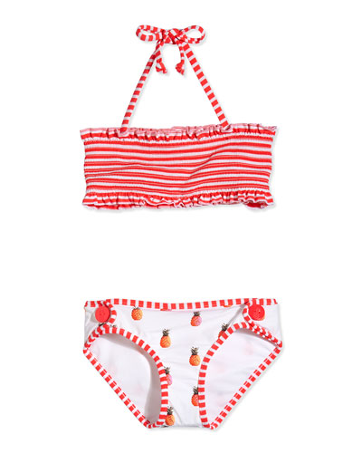 Reversible Two-Piece Swimsuit, White/Multicolor, Girls