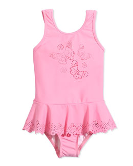 Laser-Cut Butterfly One-Piece Swimsuit, Blush Pink, Girls' 0-7