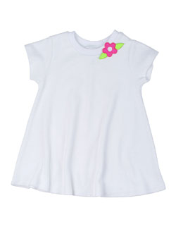 Short-Sleeve Terry Coverup w/ Flower, White, Size 18M-24M