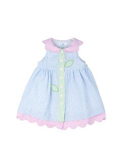 Striped Floral Seersucker Dress, Light Blue