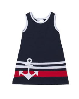 Cotton Pique Dress w/ Anchor Detail, Navy, Size 2T-6X
