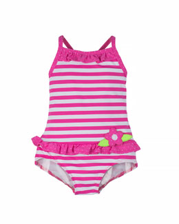 Striped One-Piece Swimsuit, Fuchsia/White, Size 2T-6X