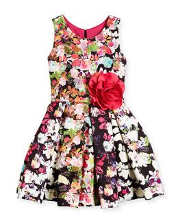 Floral-Print Scuba-Knit Dress, Multicolor, Size 7-14