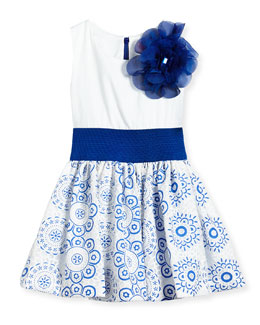 Sleeveless Dress w/ Lace Skirt, White/Blue, Size 7-14