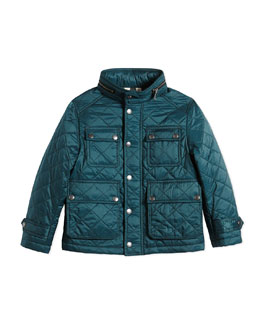 Diamond-Quilted Jacket w/ Zip-Away Hood, Teal, Size 4-14