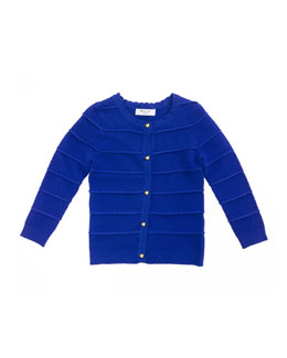 Tiered Ottoman Cardigan, Cobalt, Sizes 8-14