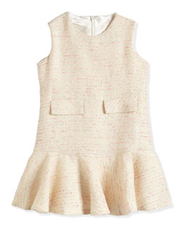 Fit-and-Flare Tweed Dress, Pink/Ivory/Platinum, Size 7-14