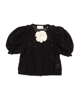 Short-Sleeve Lace Jacket, Black, Girls' Size 4-6