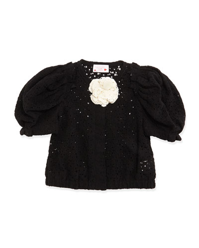 Short-Sleeve Lace Jacket, Black, Girls
