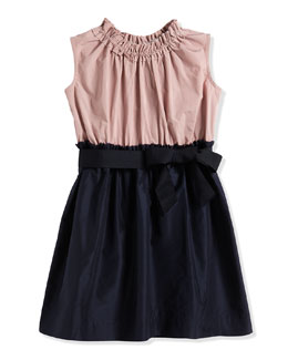 Fit-and-Flare Taffeta Dress, Navy/Cream, Size 4-6