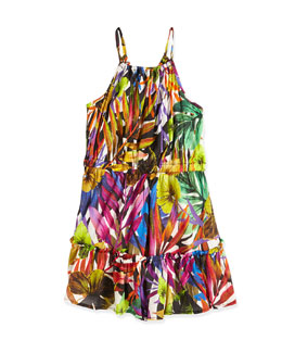 Tropical-Print Tiered Dress, Multicolor, Size 2-7
