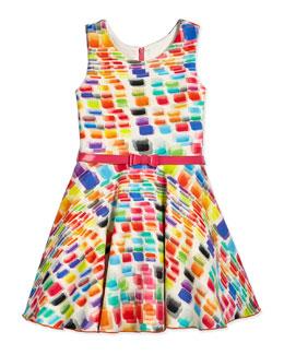 Geometric Rainbow Swing Dress, Cream/Multicolor, Size 7-14