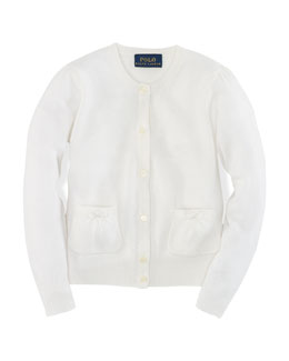 Long-Sleeve Cardigan, White, Size 2-6X