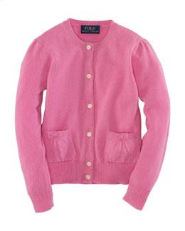 Long-Sleeve Cardigan, Hammond Pink, Size 2-6X