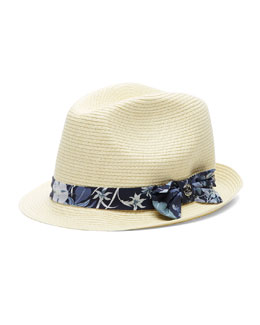 Straw Fedora w/ Floral-Print Band, Natural/Blueberry