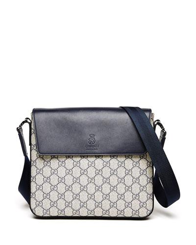 Logo-Print Faux-Leather Messenger Bag, Beige