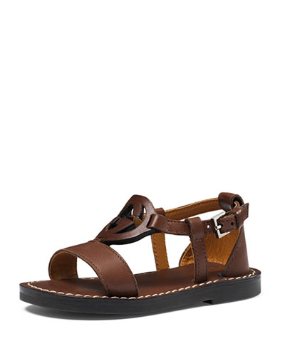 Minerva Leather Thong Sandal, Chocolate, Toddler