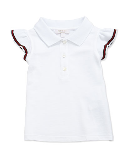 Flutter-Cuff Pique Polo, White, Size 3-36 Months