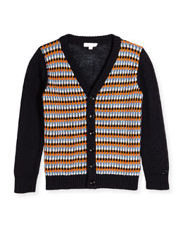 V-Neck Cardigan, Navy/White/Nectar, Sizes 4-12