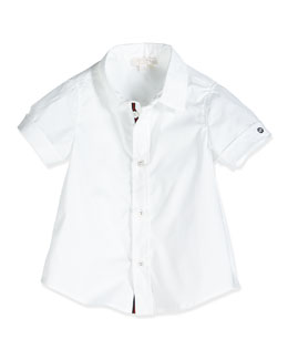 Short-Sleeve Poplin Shirt, White, Size 0-36 Months