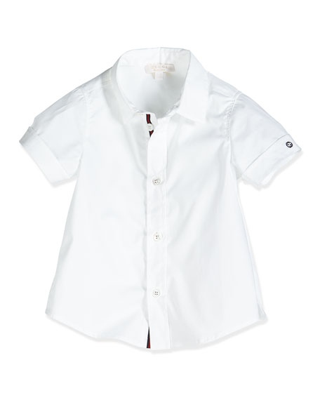 Gucci Short-Sleeve Poplin Shirt, White, Size 0-36 Months