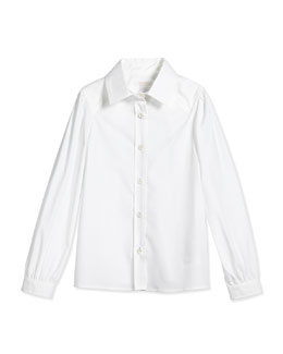 Long-Sleeve Poplin Shirt, White, Size 4-12
