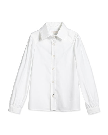 Gucci Long-Sleeve Poplin Shirt, White, Size 4-12